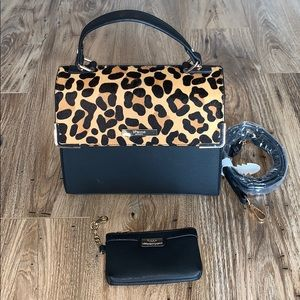 Dune London leopard calf hair purse